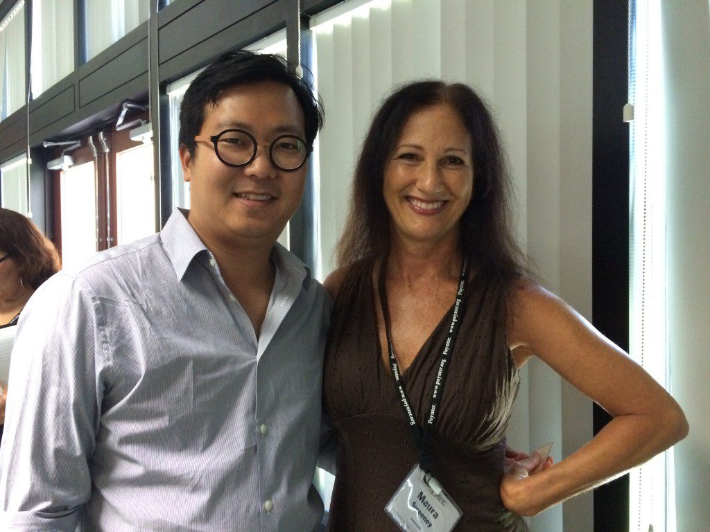 Maura Sweeney with Cheezburger's Founder and CEO Ben Huh at Poynter TEDx Conference