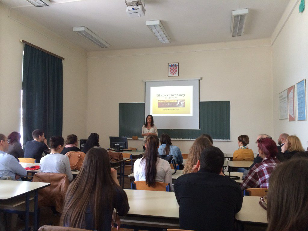 Maura Sweeney + Maura4u speaks at University of Zadar in Croatia 2015