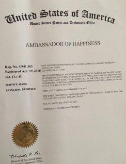 Maura Sweeney Ambassador of Happiness Trademark